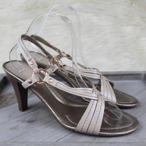 Cole Haan Slingback Heel Sandals Cream Rose Gold